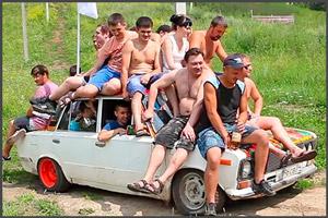 Люди на машине