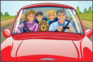 Семья с детьми на машине